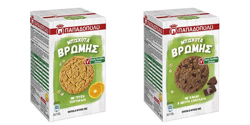 Τα Μπισκότα Βρώμης Παπαδοπούλου κυκλοφορούν σε δυο νέες γεύσεις, χωρίς προσθήκη ζάχαρης!