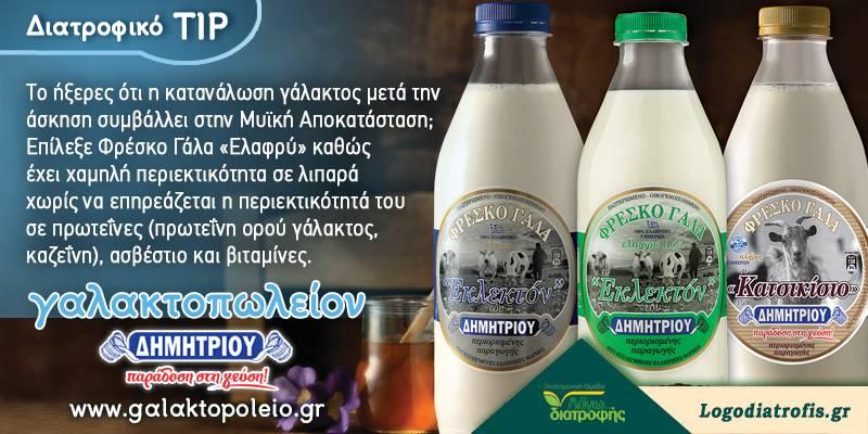 Κατανάλωση γάλακτος μετά την άσκηση (Διατροφικό tip)