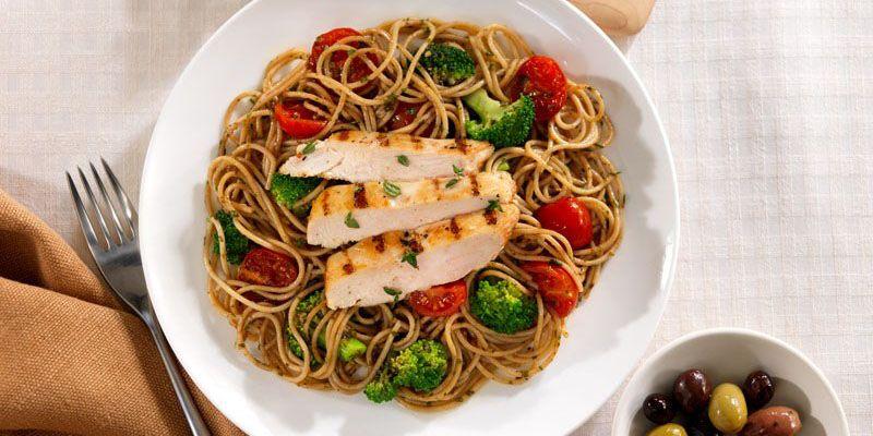 spaghetti olikis ntomatinia pesto genovese kotopoulo