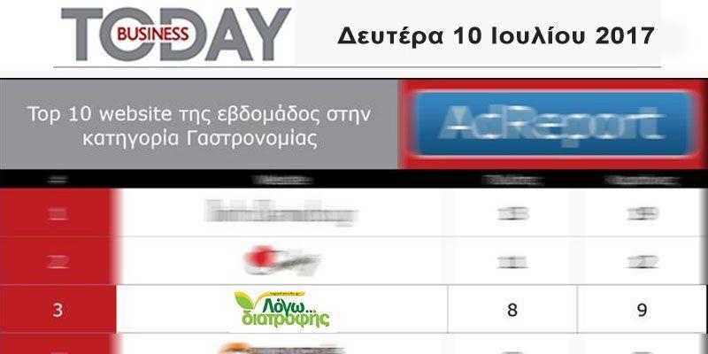 Το Logodiatrofis.gr στο Top10 των site γαστρονομίας, σύμφωνα με το Business Today